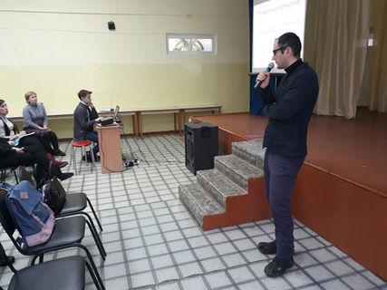 Встреча старшеклассников г. Глазова с Андреем Львовичем Туркевичем и Алексеем Александровичем Дерюгиным 1